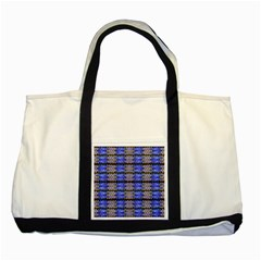 Pattern Tile Blue White Green Two Tone Tote Bag by BrightVibesDesign