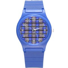 Pattern Tile Blue White Green Round Plastic Sport Watch (s) by BrightVibesDesign