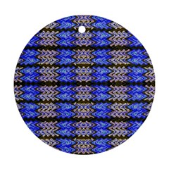 Pattern Tile Blue White Green Ornament (round)  by BrightVibesDesign