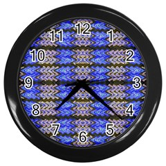 Pattern Tile Blue White Green Wall Clocks (black) by BrightVibesDesign