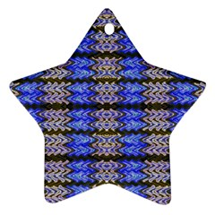 Pattern Tile Blue White Green Star Ornament (two Sides)  by BrightVibesDesign