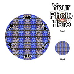 Pattern Tile Blue White Green Playing Cards 54 (round)  by BrightVibesDesign