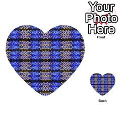 Pattern Tile Blue White Green Multi Purpose Cards (heart)  by BrightVibesDesign