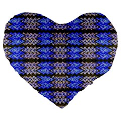 Pattern Tile Blue White Green Large 19  Premium Flano Heart Shape Cushions by BrightVibesDesign