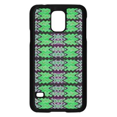 Pattern Tile Green Purple Samsung Galaxy S5 Case (black) by BrightVibesDesign