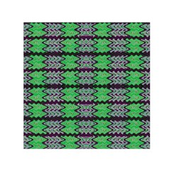 Pattern Tile Green Purple Small Satin Scarf (square) by BrightVibesDesign