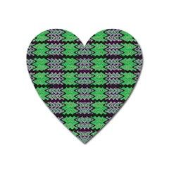 Pattern Tile Green Purple Heart Magnet by BrightVibesDesign