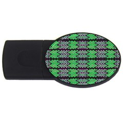 Pattern Tile Green Purple Usb Flash Drive Oval (4 Gb)  by BrightVibesDesign