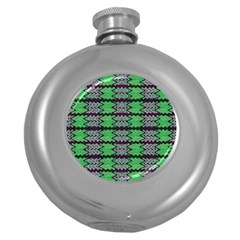 Pattern Tile Green Purple Round Hip Flask (5 Oz) by BrightVibesDesign