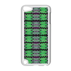 Pattern Tile Green Purple Apple Ipod Touch 5 Case (white) by BrightVibesDesign