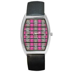 Pattern Tile Pink Green White Barrel Style Metal Watch by BrightVibesDesign