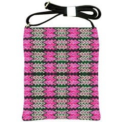 Pattern Tile Pink Green White Shoulder Sling Bags by BrightVibesDesign