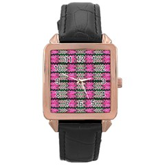 Pattern Tile Pink Green White Rose Gold Leather Watch  by BrightVibesDesign