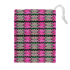 Pattern Tile Pink Green White Drawstring Pouches (extra Large) by BrightVibesDesign