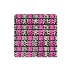 Pattern Tile Pink Green White Square Magnet by BrightVibesDesign