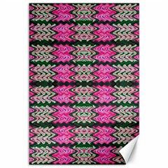 Pattern Tile Pink Green White Canvas 12  X 18   by BrightVibesDesign