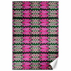 Pattern Tile Pink Green White Canvas 24  X 36  by BrightVibesDesign