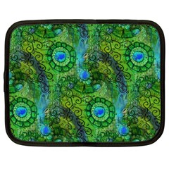 Emerald Boho Abstract Netbook Case (large) by KirstenStar