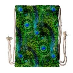 Emerald Boho Abstract Drawstring Bag (large) by KirstenStar