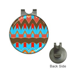 Blue Brown Chevrons                                                                       golf Ball Marker Hat Clip by LalyLauraFLM