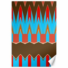 Blue Brown Chevrons                                                                       			canvas 12  X 18  by LalyLauraFLM