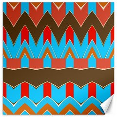 Blue Brown Chevrons                                                                       			canvas 16  X 16  by LalyLauraFLM