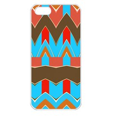 Blue Brown Chevrons                                                                       apple Iphone 5 Seamless Case (white) by LalyLauraFLM