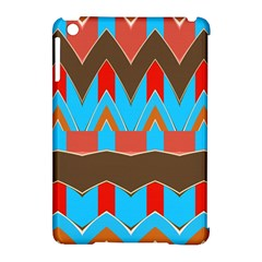 Blue Brown Chevrons                                                                       apple Ipad Mini Hardshell Case (compatible With Smart Cover) by LalyLauraFLM
