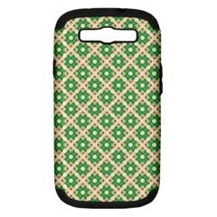 Crisscross Pastel Green Beige Samsung Galaxy S Iii Hardshell Case (pc+silicone) by BrightVibesDesign