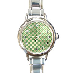 Crisscross Pastel Green Beige Round Italian Charm Watch by BrightVibesDesign
