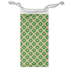 Crisscross Pastel Green Beige Jewelry Bags by BrightVibesDesign
