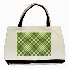 Crisscross Pastel Green Beige Basic Tote Bag by BrightVibesDesign