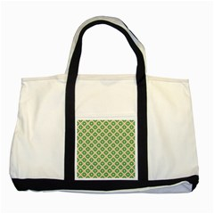 Crisscross Pastel Green Beige Two Tone Tote Bag by BrightVibesDesign
