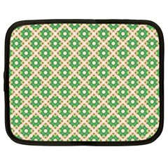 Crisscross Pastel Green Beige Netbook Case (large) by BrightVibesDesign