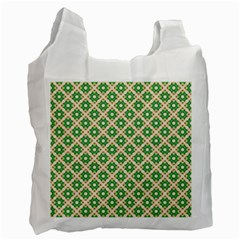 Crisscross Pastel Green Beige Recycle Bag (one Side) by BrightVibesDesign