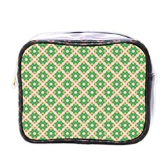 Crisscross Pastel Green Beige Mini Toiletries Bags by BrightVibesDesign
