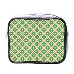 Crisscross Pastel Green Beige Mini Toiletries Bags Front