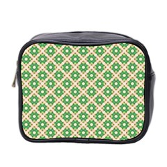 Crisscross Pastel Green Beige Mini Toiletries Bag 2 Side by BrightVibesDesign