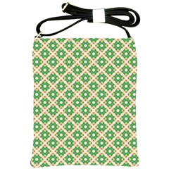 Crisscross Pastel Green Beige Shoulder Sling Bags by BrightVibesDesign