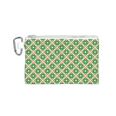 Crisscross Pastel Green Beige Canvas Cosmetic Bag (s) by BrightVibesDesign