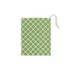 Crisscross Pastel Green Beige Drawstring Pouches (xs)  by BrightVibesDesign
