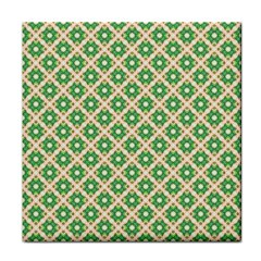 Crisscross Pastel Green Beige Tile Coasters by BrightVibesDesign