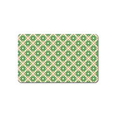 Crisscross Pastel Green Beige Magnet (name Card) by BrightVibesDesign