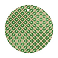 Crisscross Pastel Green Beige Round Ornament (two Sides)  by BrightVibesDesign