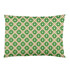 Crisscross Pastel Green Beige Pillow Case by BrightVibesDesign