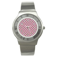 Crisscross Pastel Pink Yellow Stainless Steel Watch by BrightVibesDesign