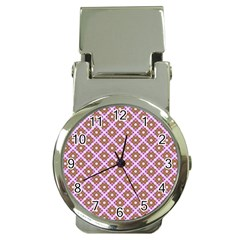 Crisscross Pastel Pink Yellow Money Clip Watches by BrightVibesDesign