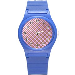 Crisscross Pastel Pink Yellow Round Plastic Sport Watch (s) by BrightVibesDesign