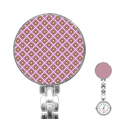 Crisscross Pastel Pink Yellow Stainless Steel Nurses Watch by BrightVibesDesign