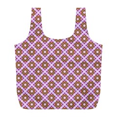 Crisscross Pastel Pink Yellow Full Print Recycle Bags (l)  by BrightVibesDesign